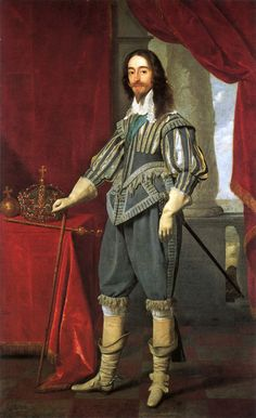 Portrait of King Charles I painted by Daniel Mytens in with a detailed depiction of the Tudor imperial crown at the side. 17th Century Clothing, 17th Century Fashion, 18th Century, Baroque Fashion, European Fashion, Tudor Fashion, English Fashion, Gothic Fashion, Fashion Men