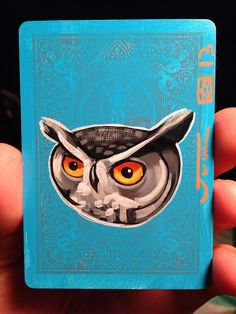 Great Horned Owl Illustration portrait  on a playing cards. Original acrylic painting. 2013 on Etsy, $12.00