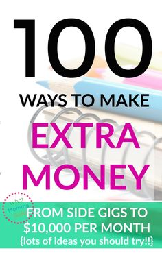 I need to see lots of examples before I make a decision. If I could make $500 to $1000 monthly with a home business, I'd be in Heaven! I'm really digging this list of ways to make extra money!!   Here are 100+ different ways to make extra each month for your family. Some are easy money making ideas and some are for real business ideas! Either way, you'll get ideas for lots of ways you could earn some money.   earn extra cash, side gig, work from home, college students and moms too