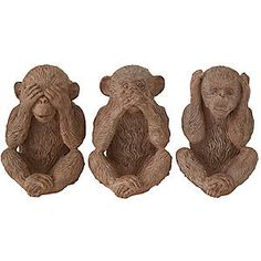 From decorative accessories and furniture to lighting, rugs, bedding & more! Three Wise Monkeys, Wise One, Wood Carving, Decorative Accessories, Lion Sculpture, Mystic, Ornament, Facebook, Garden