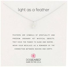 """awesome Dogeared Reminders- """"Light as a Feather"""" Sterling Silver Feather Charm Necklace, 16""""+2"""" Extender"""