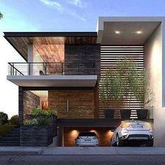 Fachadas de casas con garaje en subsuelo