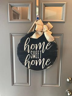 "Home Sweet Home Sign, Front Door Decor, Year Round Wreath, Round Wood Sign, Wreaths For Front Door, Home Sweet Home Wood Sign, Door Hanger ------------------------- 18"" wood round door hanger - approx 1"" thick. The burlap hanger is about 6"" long. Wood round is painted and"