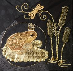 ♒ Enchanting Embroidery ♒ embroidered frog prince   MATIN LUMINEUX, art textile
