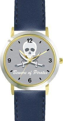 Pirate Skull & Crossed Swords No.2 - Pirate Theme - WATCHBUDDY® DELUXE TWO-TONE THEME WATCH - Arabic Numbers - Blue Leather Strap-Children's Size-Small ( Boy's Size & Girl's Size ) WatchBuddy. $49.95