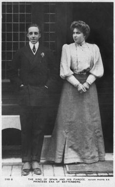 Princess Ena and King Alfonso after engagement announced at Biarritz - A Pictographic Remembrance of Queen Victoria Eugenia Julia Ena of Battenberg of Spain.