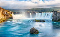 Wasserfälle, Flüsse, schöne Landschaft, Fluss, Steine, Wolken Hintergrundbilder…