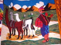 #Handgewebter #peruanischer #Motiv #Webteppich, Alpaka Hirte mit Herde als Motiv.  Traditionel gewebt in den Anden Perus aus Merinowolle.