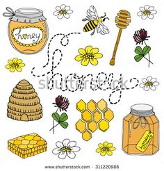 Hand drawn vintage collection of jar, dipper, bees, honeycomb. Isolated graphic for honey products Bullet Journal Month, Bullet Journal For Beginners, Bullet Journal Cover Ideas, Bullet Journal Notes, Bullet Journal Aesthetic, Bullet Journal Ideas Pages, Beehive Image, Honey Bee Tattoo, Bee Drawing
