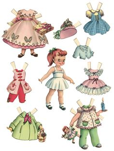 1950s paper dolls-cute clothes!
