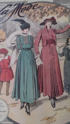 1915 La Mode magazine. Love that teal hat and dress.