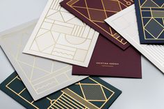 Image of Card Set – Blue & Sand by Kristina Krough  I'm loving these Art Deco inspired motifs