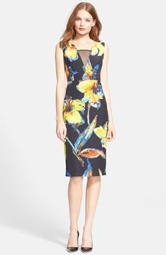 Spring! Milly 'Ella' Floral Print Georgette Inset Sheath Dress available at #Nordstrom