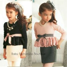 Long-sleeved Lace Trim Top with bow, Flannel Skirt -  1 piece dress Colour: Pink/Grey, Black/Pink  Instock Size: 2, 3, 4, 5