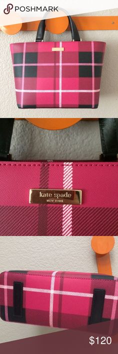 "Kate Spade plaid mini tote pink black How cute is this bag?  A thick grainy vinyl, gold hardware.  Top measures 13"" wide, 8"" tall, 4.5"" deep, drop on handles 4.5"".  NWT! kate spade Bags Totes"
