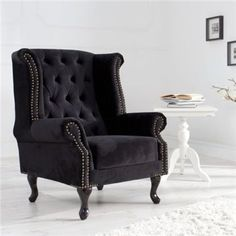 Fotel Chesterfield black Wingback Chair, Armchair, Ventura Design, Chesterfield, Beautiful Interiors, Designer, Accent Chairs, Beautiful Places, Living Room