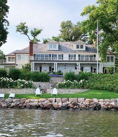 Coastal New England Style in a Minnesota Lake House – Blue and White Home