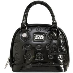 Loungefly Star Wars Darth Vader Darkside Mini Black Patent Embossed... (75 AUD) ❤ liked on Polyvore featuring bags, handbags, shoulder bags, dome handbag, patent leather handbags, darth vader purse, patent handbags and purse shoulder bag