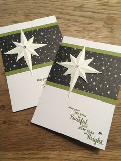 Kerstkaart gemaakt met producten van Stampin' UP! Star of light framelits and stamps, merry little christmas dsp. *** Christmas card Made with products of Stampin UP!