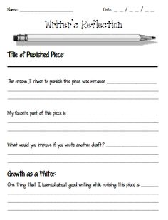 Writing Workshop: Writer's Reflection Sheets | Scholastic.com