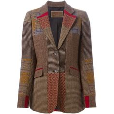 Etro Patchwork Tweed Blazer ($1,531) ❤ liked on Polyvore featuring outerwear, jackets, blazers, multicolour, colorful blazers, patchwork jacket, brown blazer, etro blazer and brown tweed blazer