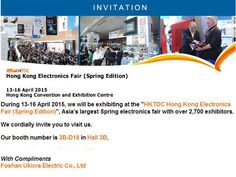 We will be exhibiting at the HKTDC Hong Kong Electronics Fair (Spring Edition) during April 13th to April 16th. Our booth number is 3B-D18 in Hall 3B. Welcome to visit us.