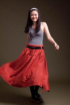 Long orange dress J003 by JulyS on Etsy, $49.00