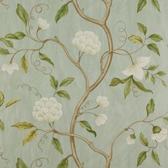 Snow Tree by Colefax and Fowler - Aqua - Wallpaper : Wallpaper Direct Aqua Wallpaper, Cream Wallpaper, Fabric Wallpaper, Chinoiserie Wallpaper, Wallpaper Online, Oriental Wallpaper, Hallway Wallpaper, Classic Wallpaper, Colefax And Fowler Wallpaper