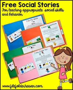 "Free, printable ""folder stories."" Simple one page social stories that teach appropriate social skills and behavior. Great for your students with special learning needs, especially autism. Download these FREEBIES at: http://www.filefolderheaven.com/autism-tasks/folder-stories"