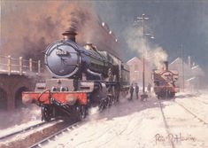 """Finally in this bit and courtesy of Mr Philip D Hawkins who we admire greatly for his skilled steam paintings. Rail Train, Train Art, Diesel Locomotive, Steam Locomotive, Locomotive Engine, Severn Valley, Train Posters, Steam Railway, Ferrat"