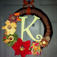 Fabric wreath for fall