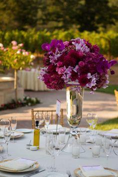 Vendor Profile | Style Me Pretty  Tall fuchsia orchid, rose, dahlia, hydrangea wedding reception centerpiece. Fleurs de France  www.fleursfrance.com