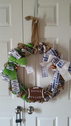 Seahawks and Cowboys house divided wreath