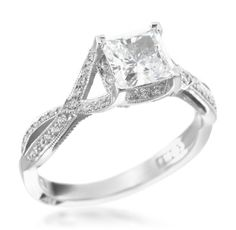 Tacori - Contemporary Crescent Platinum 0.22ctw Diamond Princess Setting (Available at Michael C. Fina)