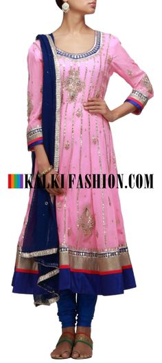 Buy Online from the link below. We ship worldwide (Free Shipping over US$100) http://www.kalkifashion.com/pink-anarkali-suit-embroidered-in-gotta-patti-cut-work.html Pink anarkali suit embroidered in gotta patti cut work