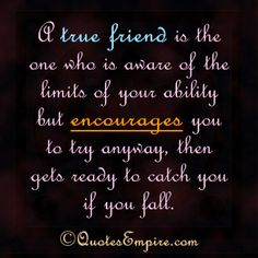 A true friend is the one who is aware of the limits of your ability but encourages you to try anyway, then gets ready to catch you if you fa...