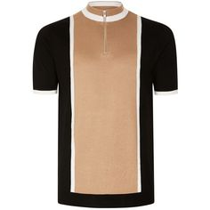 TOPMAN Camel and Black Zip Neck Knitted T-Shirt (£28) ❤ liked on Polyvore featuring men's fashion, men's clothing, men's shirts, men's t-shirts, brown, mens slim t shirts, mens slim shirts, mens slim fit t shirts, mens brown shirt and mens slim fit shirts