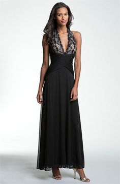 Betsy & Adam Lace & Mesh Halter Gown available at #Nordstrom