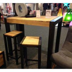 Table haute bois acier industrielle 120x70x105(h)cm