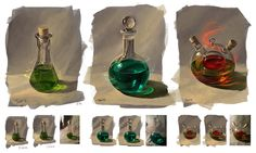 From nature: bottles by JuliaTar potions healing fire health mana poison equipment gear magic item | Create your own roleplaying game material w/ RPG Bard: www.rpgbard.com | Writing inspiration for Dungeons and Dragons DND D&D Pathfinder PFRPG Warhammer 40k Star Wars Shadowrun Call of Cthulhu Lord of the Rings LoTR + d20 fantasy science fiction scifi horror design | Not our art: click artwork for source