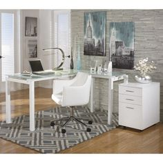 Lowest price online on all Ashley Baraga L Shaped Home Office Desk with Chair and File Cabinet - H410-24-01A-12-PKG