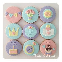 Cookies for mum Cake Decorating With Fondant, Cookie Decorating, Baby Shower Cupcakes, Birthday Cupcakes, Fondant Cupcake Toppers, Cupcake Cakes, Baby Cookies, Sugar Cookies, Berry Cupcakes