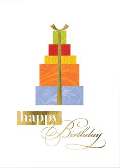 This stylish card with brightly wrapped packages trimmed in gold foil extends happy birthday wishes to your colleagues and friends.