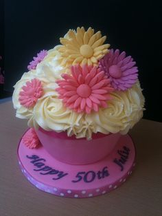 Julie's 50th Birthday Giant Cupcake by Cirencester Cupcakes, via Flickr