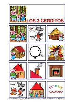 Teaching Spanish w/ Comprehensible Input: Pictograms of Well-Known Stories Spanish Teaching Resources, Spanish Activities, Spanish Lessons, Electric Quilt, Three Little Pigs, Dual Language, Spanish Classroom, Play To Learn, Quilting Designs