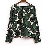 SheIn(sheinside) Green Long Sleeve Ikat Neat Awesome Leaves Print Crop Blouse