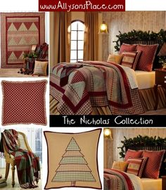 Nicholas Collection Quilted Bedding - #Primitive #Country #Christmas #Holiday #Tree www.allysonsplace.com