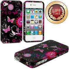 Amazon.com: myLife (TM) Pink Butterflies and Flowers Series (2 Piece Snap On) Hardshell Plates Case for the iPhone 4/4S (4G) 4th Generation ...