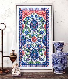 Turkish Ornament Tile Watercolor Art Ottoman Iznik by HermesArts