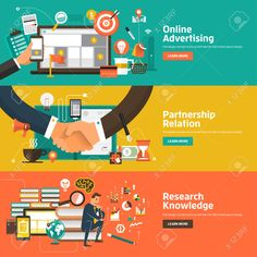 Flat design concepts for Online Advertising, Partnership Relation, Research Knowledge. Concepts for web banners and promotional materials. Business Illustration, Flat Illustration, Graphic Design Illustration, Illustrations, Cartoon Website, Pvc Banner, Layout, App Logo, Information Design